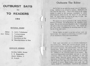 Outburst team and editorial, Oct 80