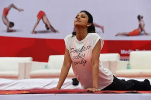 Bollywood actress Shilpa Shetty performs yoga in Bengaluru.  (AFP Photo)