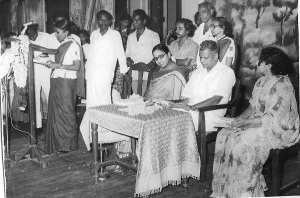 Mom speaking at a function presided by then Congress leader, GK Moopanar
