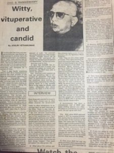 My interview with Cho Ramaswamy for The Indian Express decades ago.