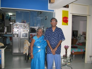 Mom with me at our flat in Singapore 2009