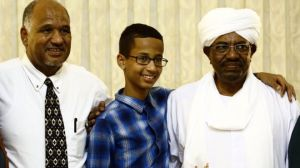 Clock boy Ahmed and his father with Sudan President al-Bashir -Getty Images / from BBC report.