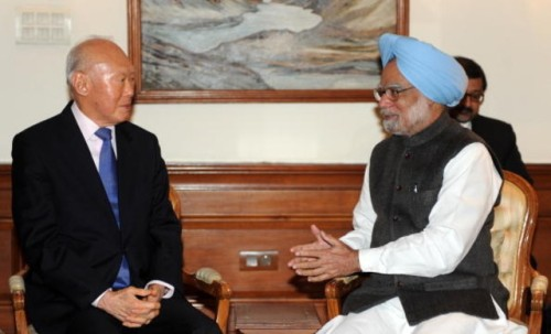 Lee Kuan Yew with Dr Singh
