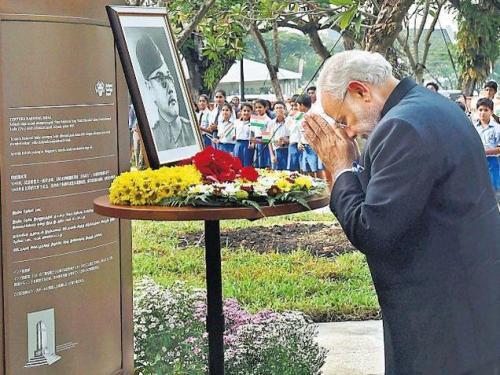 Modi at Netaji Monument in Singapore