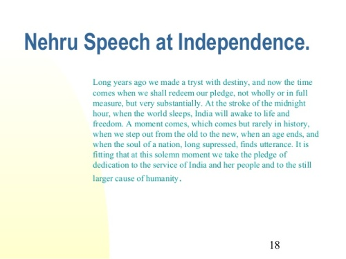 Nehru's I-Day speech