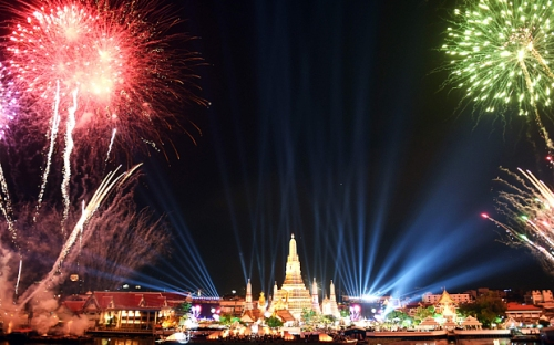 Fireworks light up the sky over Wat Arun
