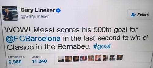 Gary Tweet on Messi
