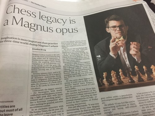 Carlsen in singapore