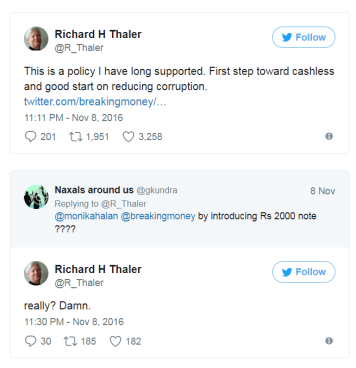 Dr Thaler's Tweet on notes ban